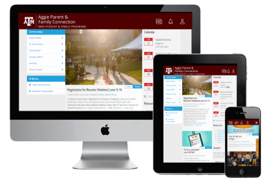 A computer monitor, tablet and phone screen showing the Aggie Parent and Family Connection Portal